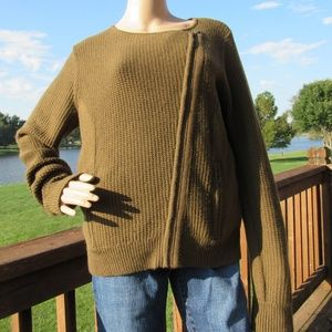 LOFT Ann Taylor Knit Zip Overlap Sweater